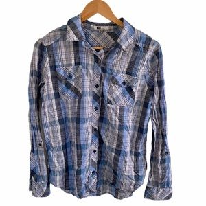 Kut from the Kloth Plaid button down blouse medium